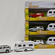Witte Volvo V70 met caravan