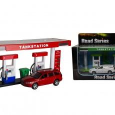 Tankstation met Volvo V70 (rood/rood)