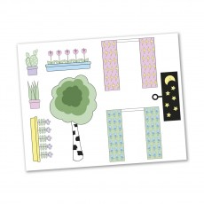 Lundby Creative - Stickerset Gordijnen en bloemen