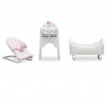 Babyset met wipstoel, kinderstoel en wiegje