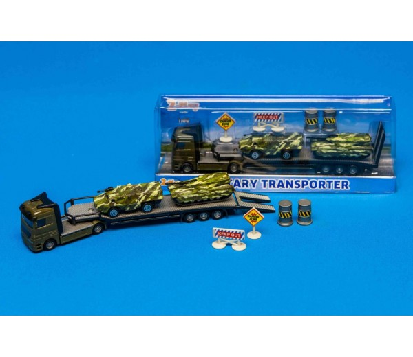 Militaire transporter met tanks