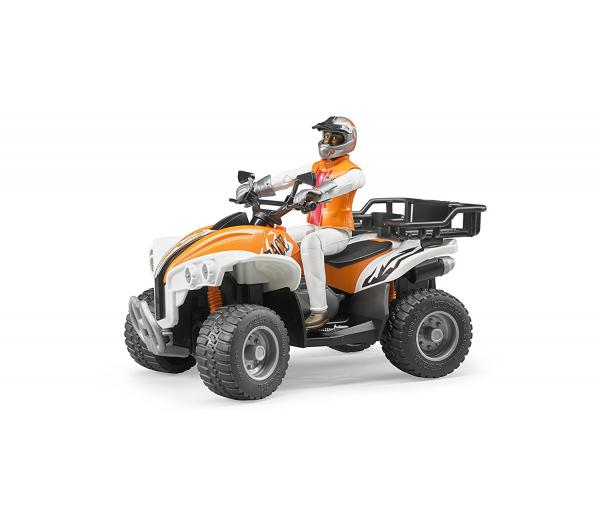 Oranje quad met bestuurder