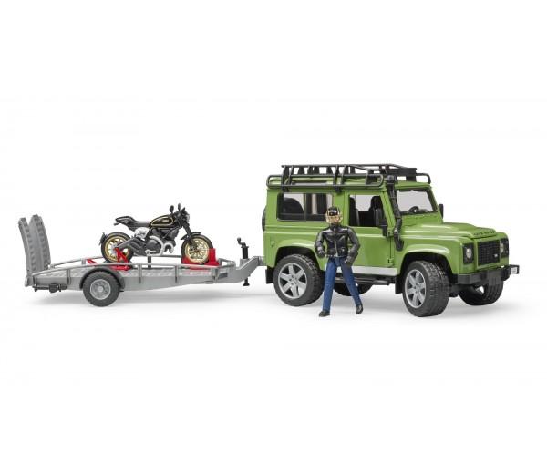 Land Rover met aanhanger en Ducati motor