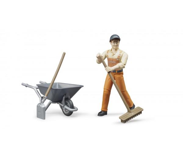 Speelfiguur Worker met kruiwagen