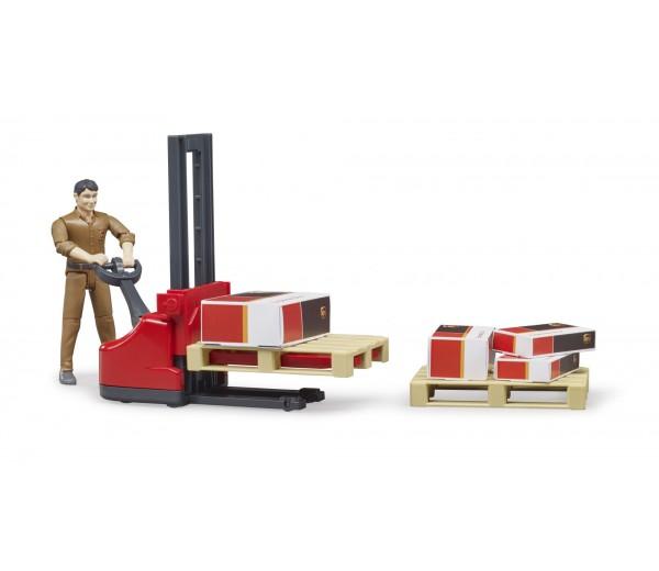 Speelfiguur UPS bezorger met palletwagen