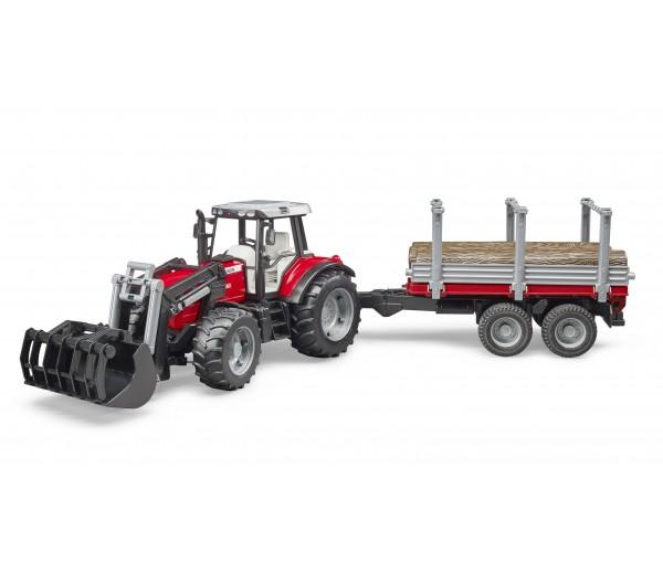 Massey Ferguson 7480 met voorlader, houttrailer en 3 boomstammen