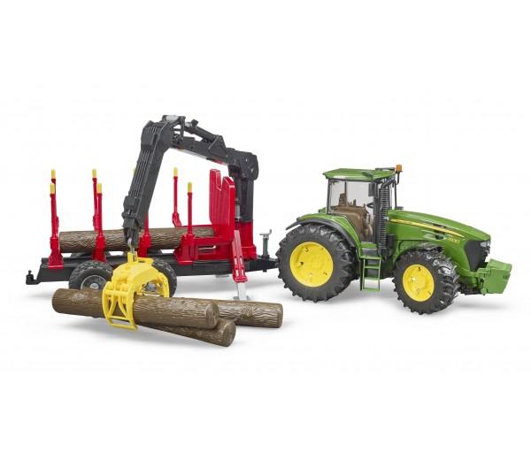 John Deere 7930 tractor en houttrailer met kraan
