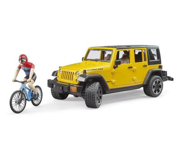 Jeep Wrangler Rubicon Unlimited met mountainbiker