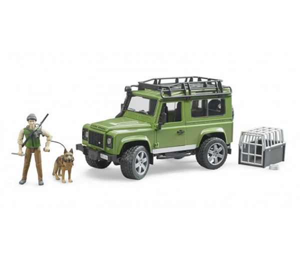 Land Rover Defender met boswachter en hond