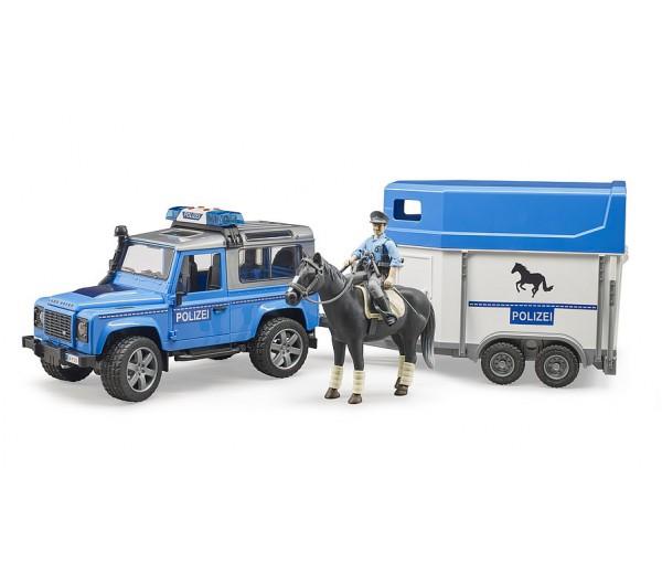 Politie speelset met Land Rover Defender, paard, trailer en politieagent