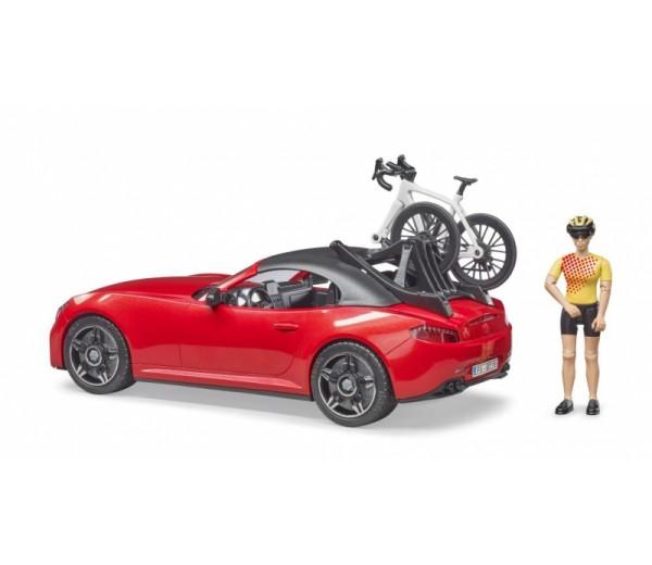 Roadster met wielrenner