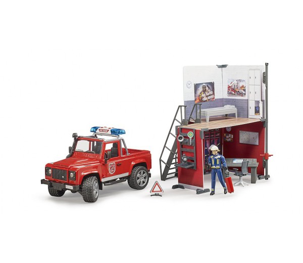 Brandweerauto en brandweerkazerne