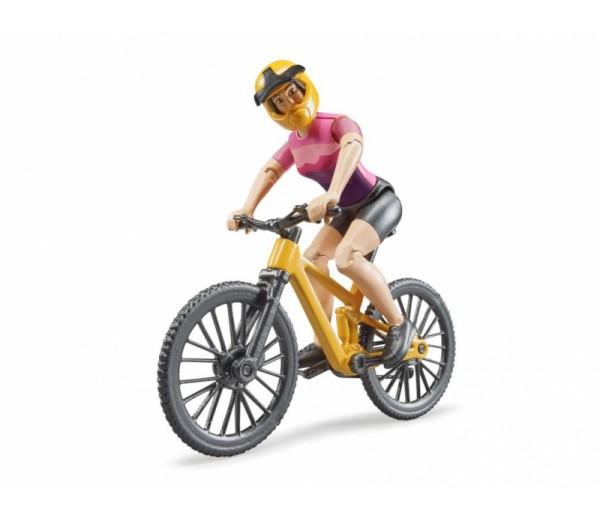 Mountainbike met wielrenster