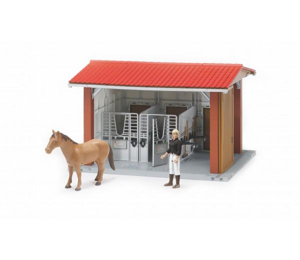 Paardenstal met paard en verzorgster