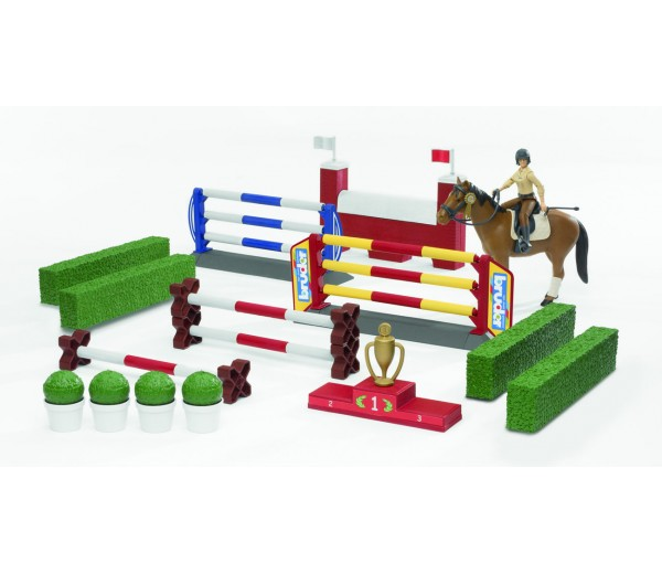 Hindernissenparcours met paard en amazone