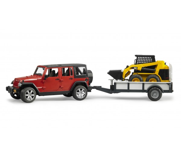 Jeep met aanhanger en CAT minishovel