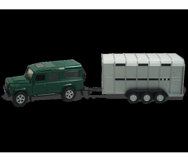 Groene Land Rover met Veetrailer
