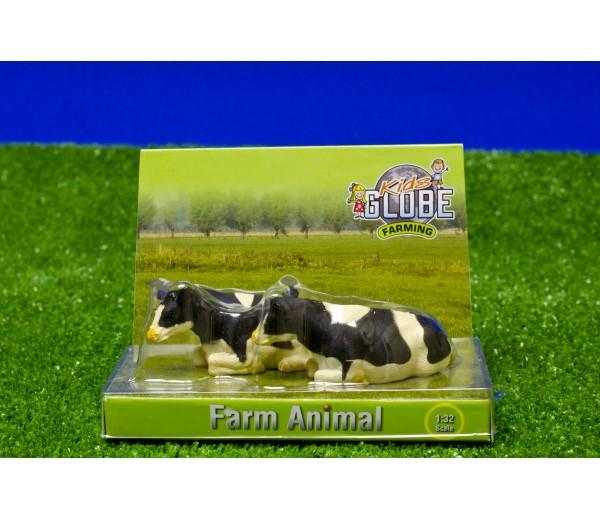 Set van 2 zwartbonte liggende koeien