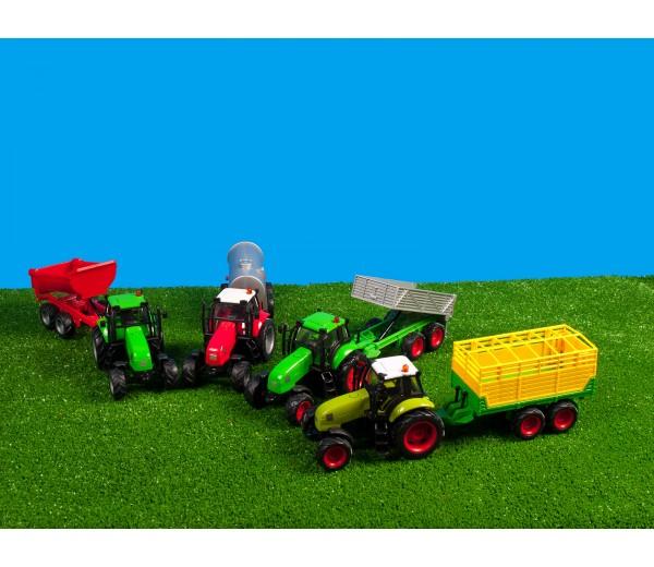 Set van groene tractor met grijze aanhanger