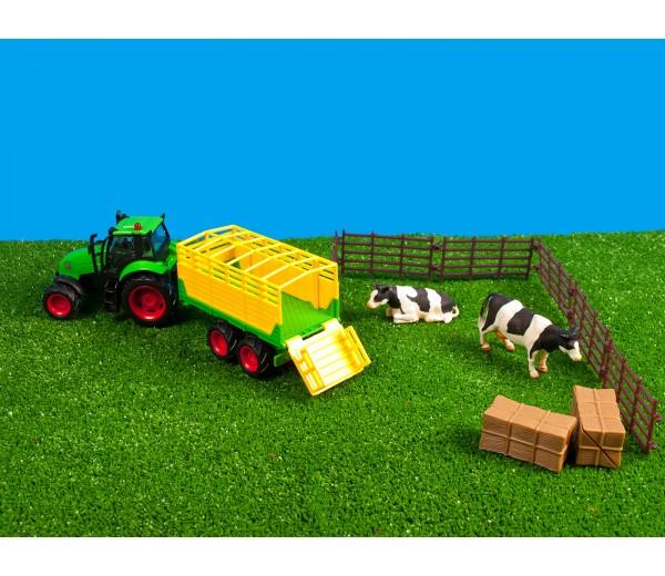 Set van tractor met veewagen en accessoires