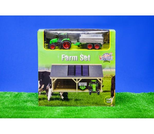 Boerderijset bestaande uit een schuur en tractorset
