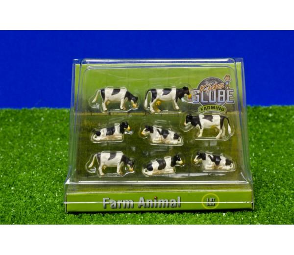 Set van 8 zwartbonte koeien