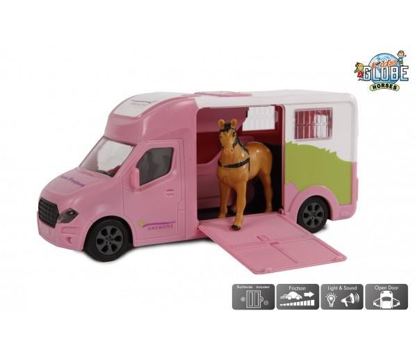 Roze paardentransport truck