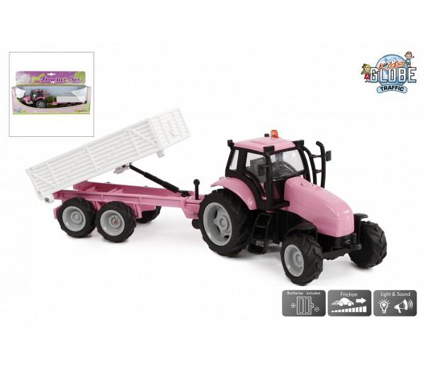 Roze tractor met aanhanger