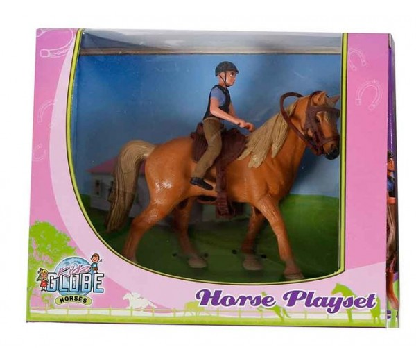 Paarden speelset met paard en ruiter
