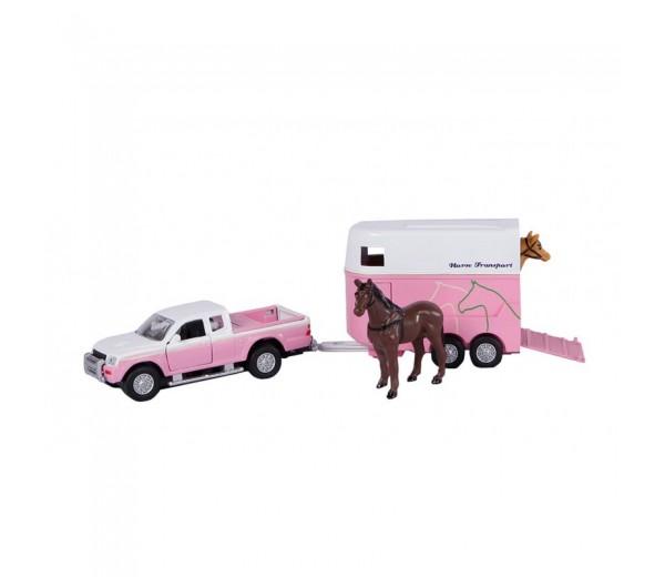 Mitsubishi met roze trailer en paarden