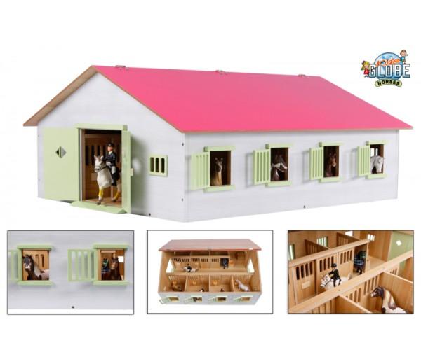 Roze paardenstal met 7 boxen