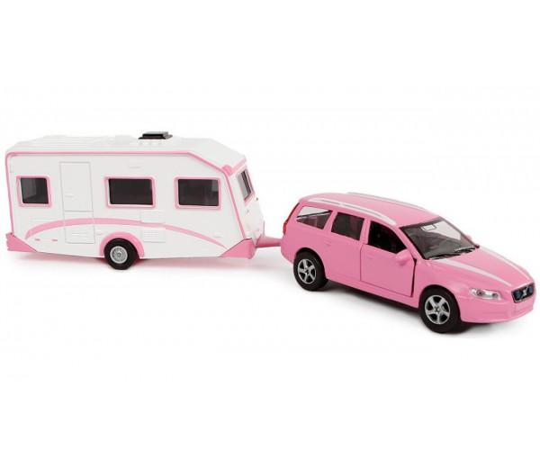 Volvo V70 roze met caravan