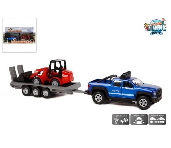 Terreinwagen met aanhanger en shovel