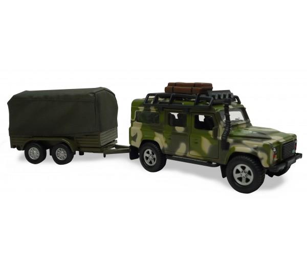 kidsglobe traffic militaire landrover met aanhanger 520027 bentoys. Black Bedroom Furniture Sets. Home Design Ideas