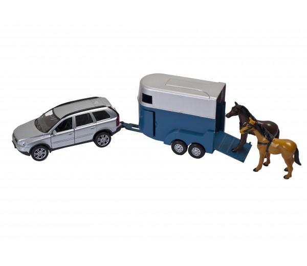 Volvo C90 met paardentrailer (blauw)