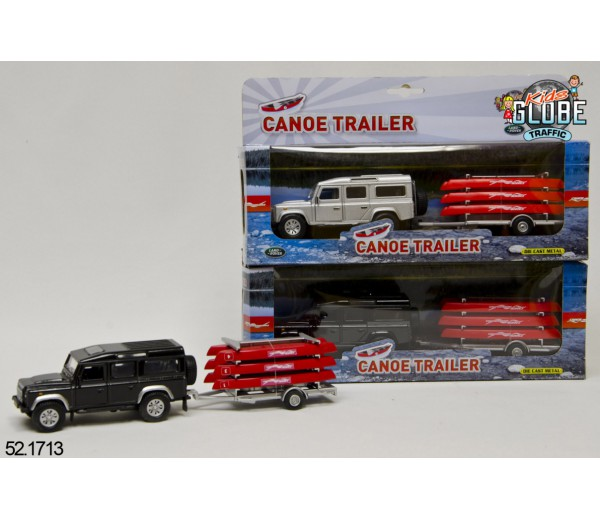 Land Rover defender met kano en trailer zilver