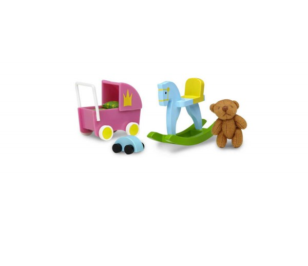 Speelgoedset met poppenwagen en beer