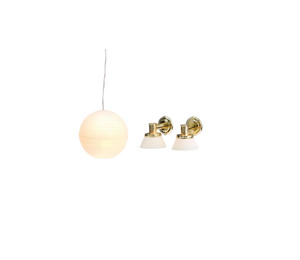Hanglamp en 2 wandlampjes