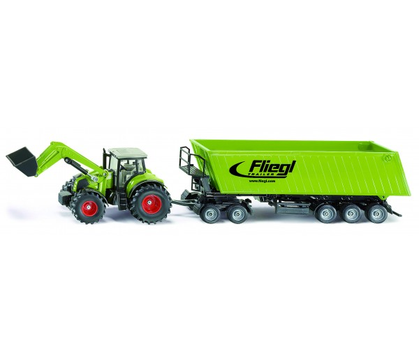Claas Axion met voorlader, dolly en kipper