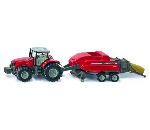 Massey Ferguson tractor met vierkante balenpers