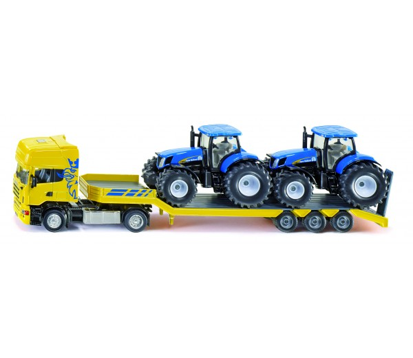 Scania dieplader met 2 New Holland tractoren
