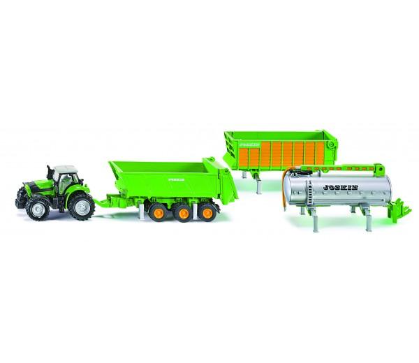 Deutz tractor met 3 Joskin aanhangers
