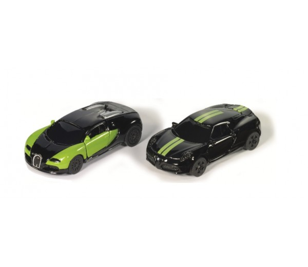 Black and Green Bugatti Veyron en Alfa Romeo 4C Set