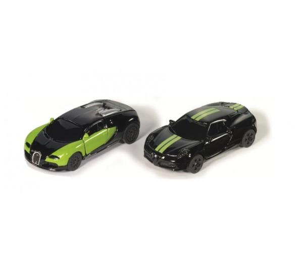 Black and Green Bugatti Veyron en Alfa Romeo 4C Set