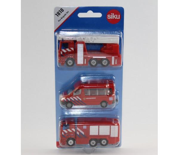 Brandweerset NL met ladderwagen, busje en brandweerwagen