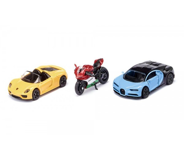 Set van 2 sportenwagens en 1 motor