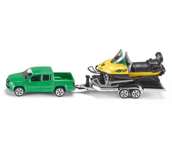 VW Amarok met trailer en sneeuwscooter