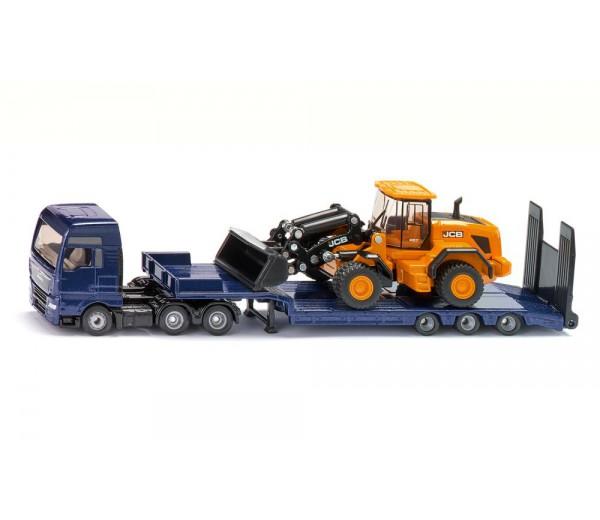 MAN vrachtwagen met JCB wiellader en dieplader