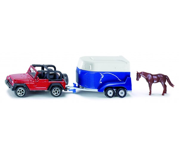 Jeep met paardentrailer